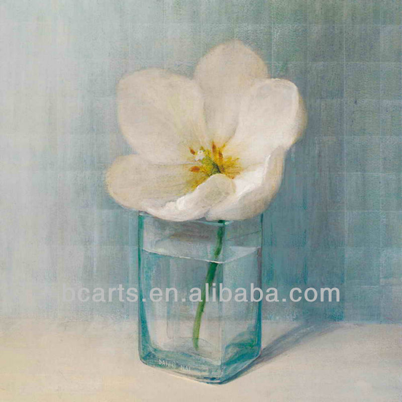 High quality pure hand-painted oil painting flowers modern design glass vase