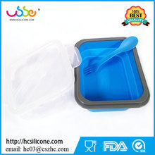 One Compartment Folding Silicone Collapsible Mess Tin Portable Boxes Bowl Picnic Food Storage Container Lunch box with Forks