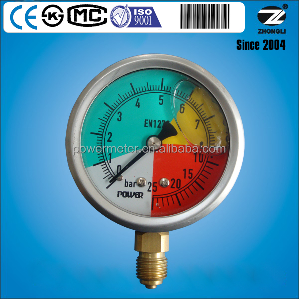 2.5'' bottom connection diameter 63mm 25 bar isometric gauge en837-1