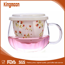 Glass Floweing Teapot with White Ceramic Filter Strainer Lid for Loose Tea Blooming Flower Fruit Tea 10oz / 300ml