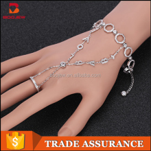 Most popular products high quality bracelets connected to rings charm bracelets with rhodium plated