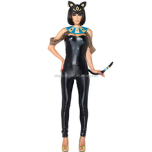 New ladies leather catsuit one piece jumpsuit black cat costume for women