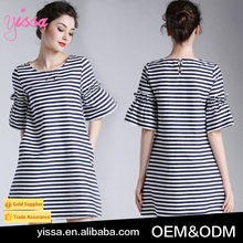 YISSA 2016 Black And White Striped Puffy Party Dress Short-sleeved Dresses For Women