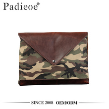 Padieoe PDA328-Y PU leather camouflage color canvas hand purse