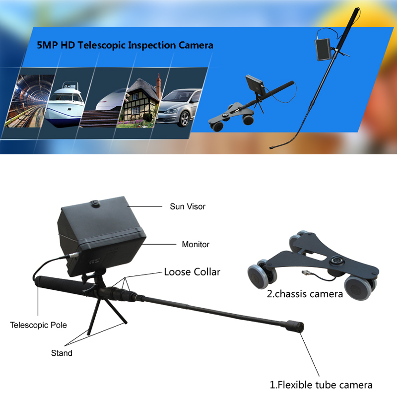 Handheld Telescopic Pole 1080P Full HD Under Vehicle Trolley Mirror with Dual HD Cameras Inspection System