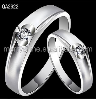 2014 Fashion Jewelry 925 Sterling Silver Couple Wedding Rings Lover Couple Rings QA2922