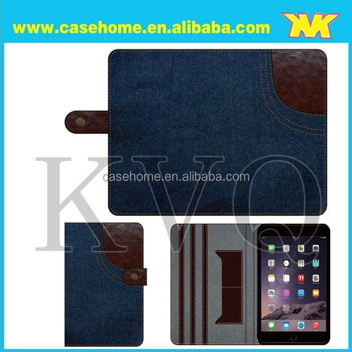 high quality Denim leather case for ipad air,cover case for ipad air 2 with denim with different color