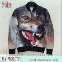 DX114# full sleeve fall/winter outwear coats new arrive men/women's 3D print animal wolf printing funny baseball jacket