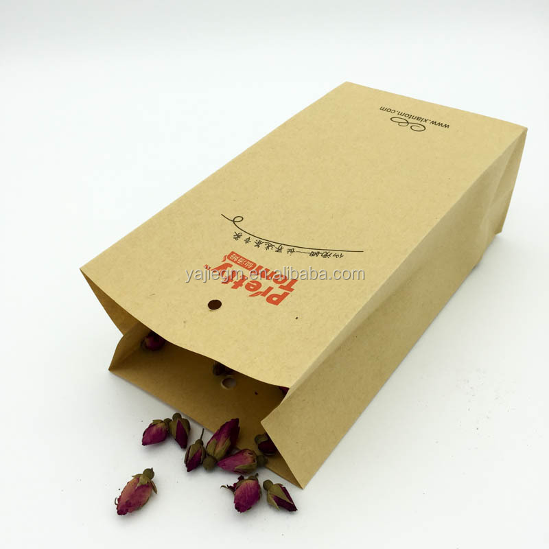 Custom Bags For Tea,kraft paper coated green red color available tea bag