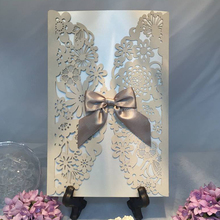2017 Butterfly Ribbon Wedding Invitation Card Laser Cut cream-coloured Lace Wedding Invitation Folded Cards