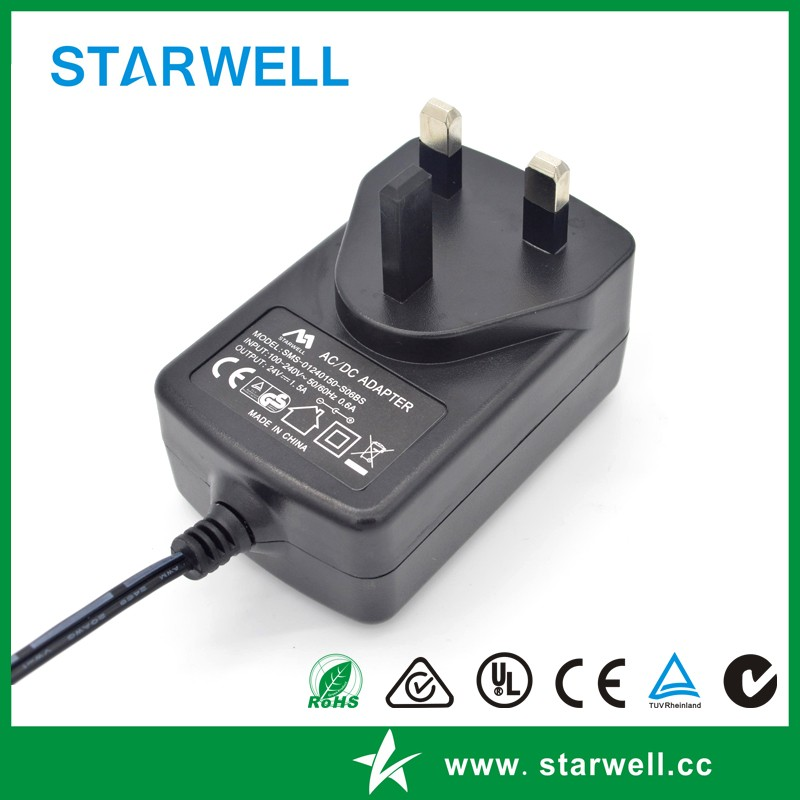 SMS-01120150-S06US 12V 1.5A 18W Switch mode power supply CE UL FCC CCC SAA certificated plug in power adapter