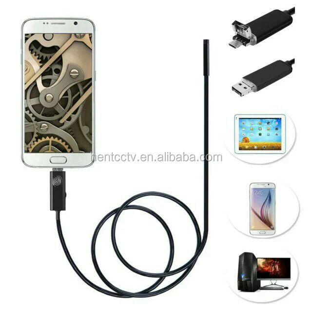 2MP HD 720P 2 in 1 Android Endoscope 9mm Lens 6 LED Waterproof Borescope Inspection Camera