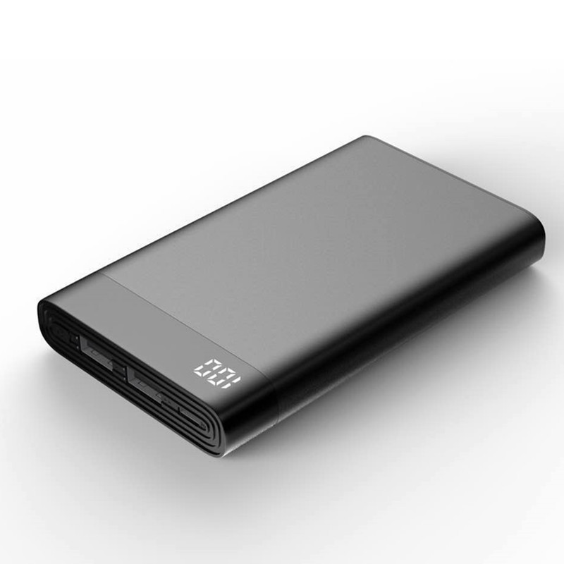 slim 10000mah power bank Dual USB With LCD Display