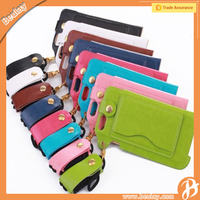 Neck strap Stand Wallet ID Card Holder leather phone cases for iphone 6 6S