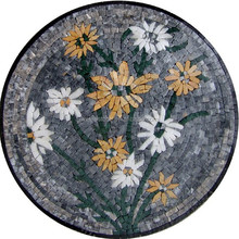 Flower shape marble mosaic medallion pattern inlay for museum lobby