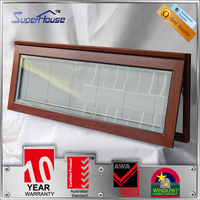 timber pattern aluminum window single pane with build in blinds