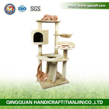 Aimigou cat tree with sisal ladder beige cat tree with scratching toy