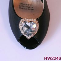 new design heart shaped rhinestone shoe ornaments shoe accessory for lady