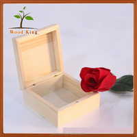 Square Real Wood Pine Zakka Creative Wooden The Seal Customized Flip Top Box Custom Mini Wholesale Wooden Cigar Box For Sale