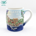 Multicolor hand painted different kinds round shape ceramic souvenir coffee mug