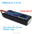 USD 8.25/PC On promotion very cheap 5000mah 2s 7.4v 35c rc Lipo battery with MSDS UN38.3