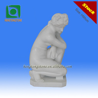 White Marble Statue of Young Nude Girl