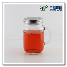 High quality 750ml 25oz bulk clear empty glass mason jar with handle and silver screw top wholesale