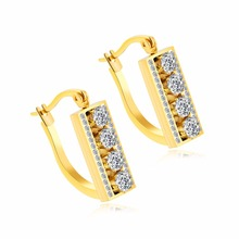 Stainless Steel Plated Gold Inlaid Zircon Ladies Square Earrings