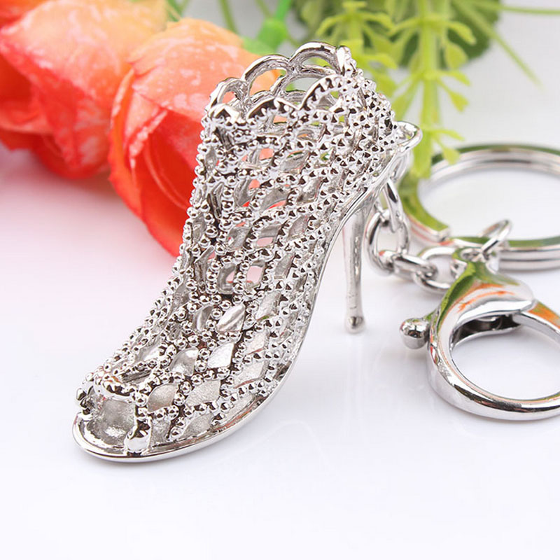 Hot Sale Fashion Korean High Heels Key Ring Shoe Shape Hollow-Out Keychain