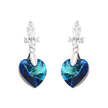 E-128 xuping sterling silver color fashion jewelry,crystals from Swarovski heart shape luxury big stone earrings