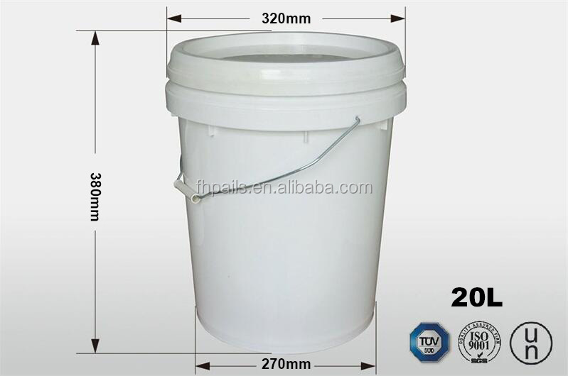 20L high quality hot sale cheap 100% virgin pp plastic ellipse paint buckets with handle and lid