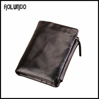 2015 New design black color japanese leather wallet