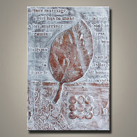 handmade tree leaf canvas painting