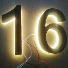 Factory price Acrylic stainless steel waterproof backlit led open sign glowing in dark house number letters