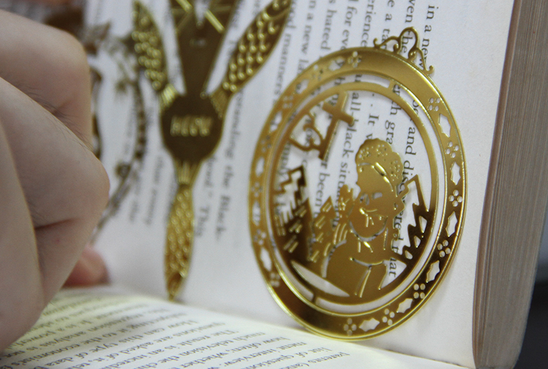 wholesale cheap blank etched 24k gold metal book mark hot on sale