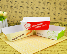 Customized chicken popcorn boat shape packing box with logo pattern