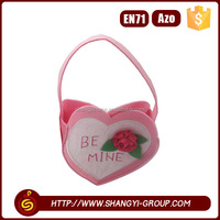 2016 High quality polyester felt pink heart shaped gift packaging bag