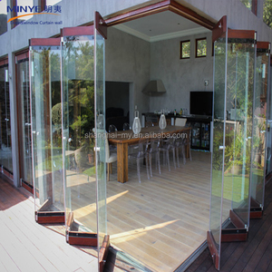 China gold supplier frameless folding glass door lowes glass interior folding doors style