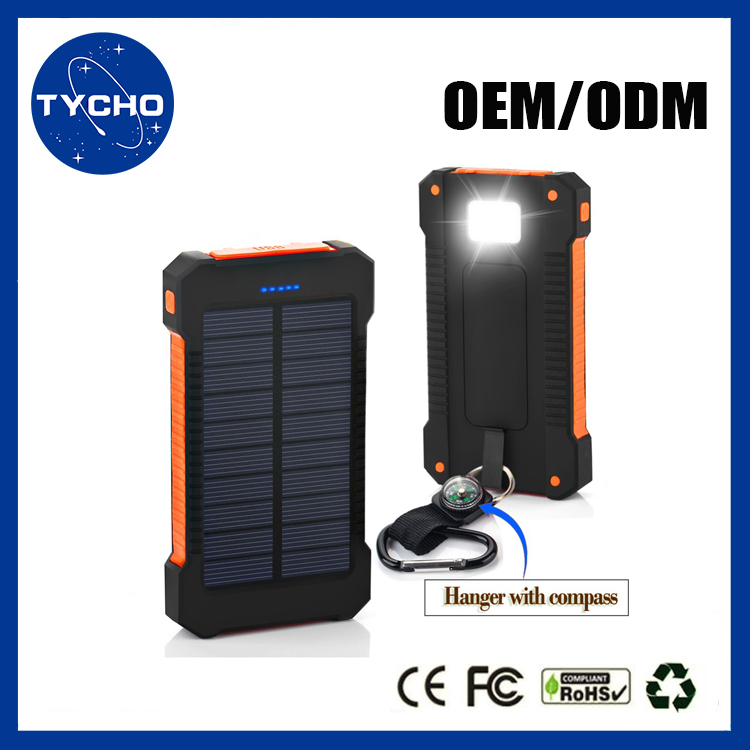 Portable Solar Power Pack LED SOS Flashlight External Solar Power Bank For Cell Phone Dual USB Multi Charger