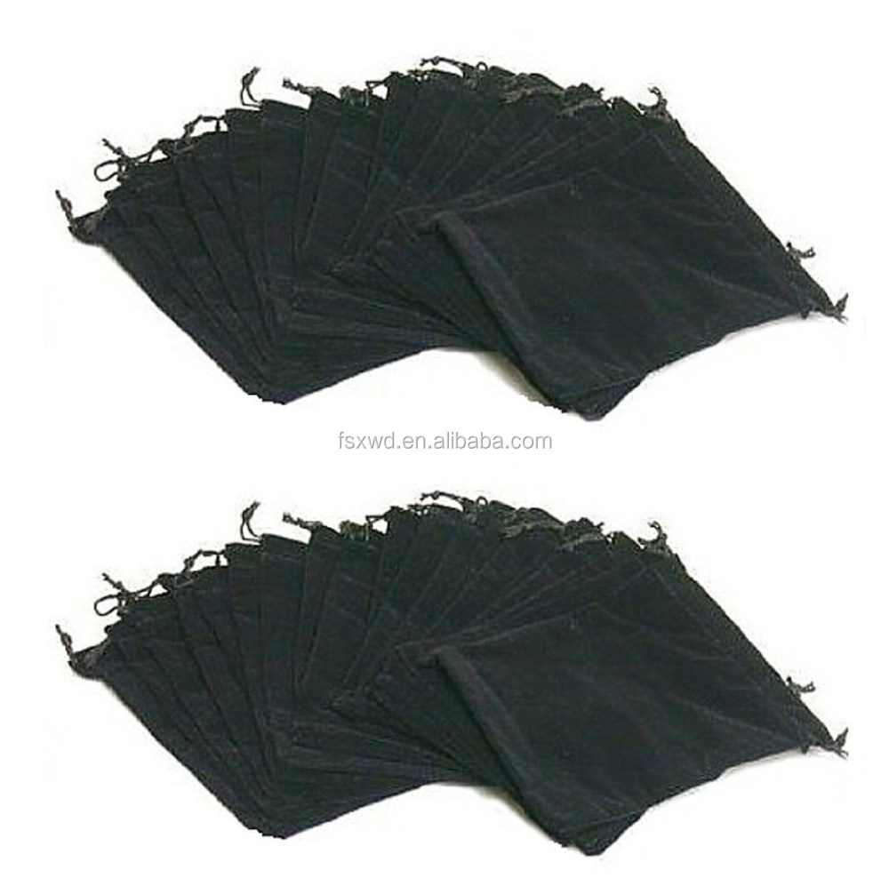 "Pack Of 25 Large 7"" X 5"" Pouches - Elegant Black Velvet Drawstring Jewelry Bags"