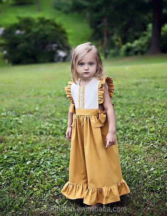 China supplier yawoo garment Mustard Yellow Fall Hampton Pant Romper toddler clothing fall outfit