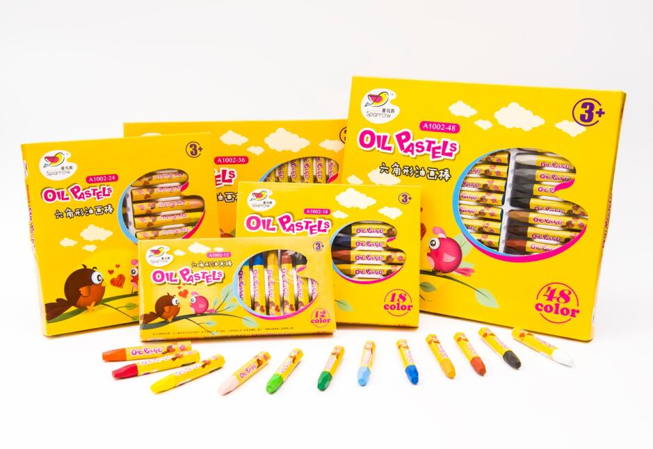 Gift stationery set of hexagonal crayon,48pcs oil pastel school supplies