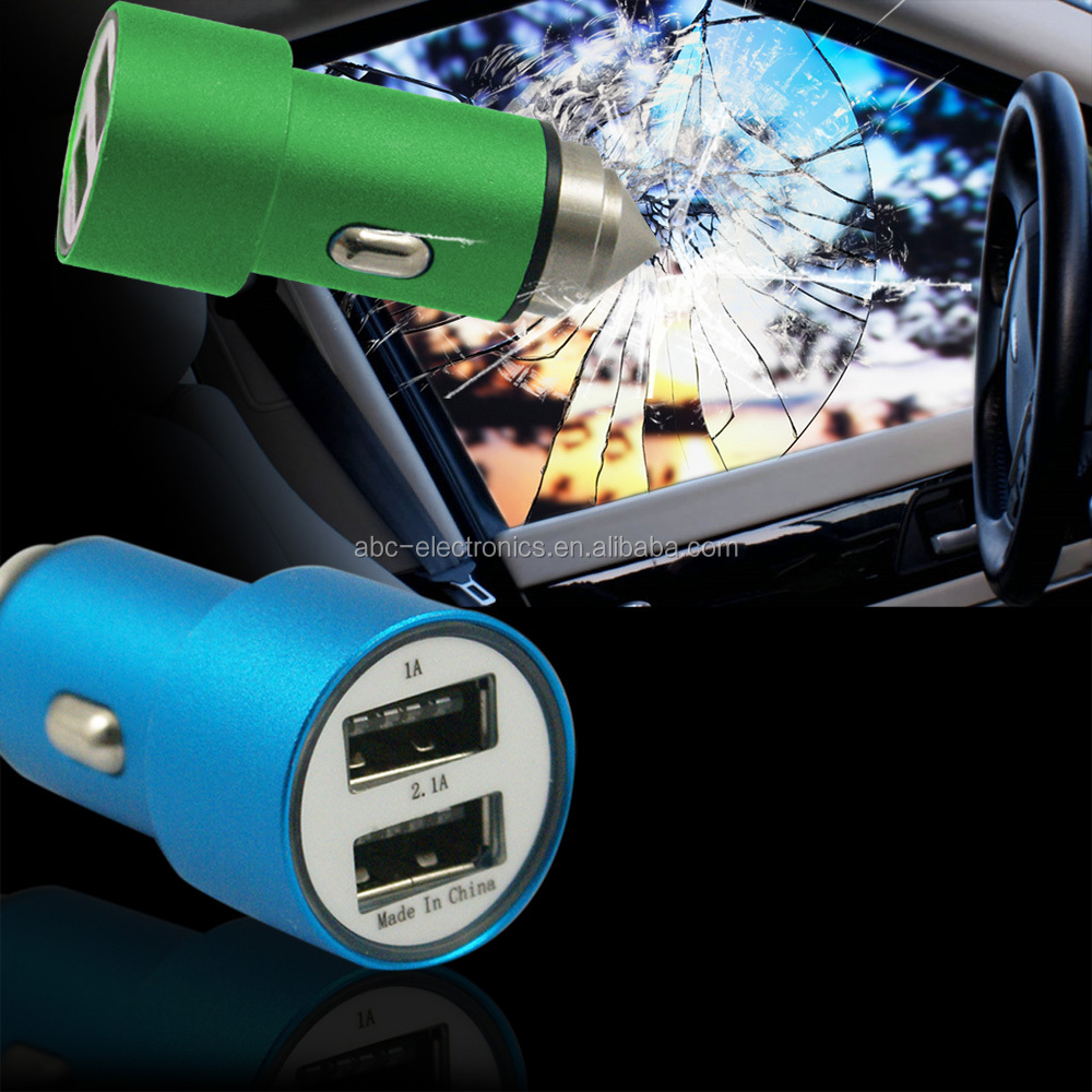Mobile Phone Accessories Hot Selling 2 Ports Safety Type Mirco USB Car Charger , 2.4amps Car Adapter For Cell Phone