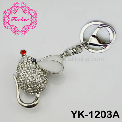New arrival mice mouse key chain key ring keyring rhineston charm keychain favor YK-1203A