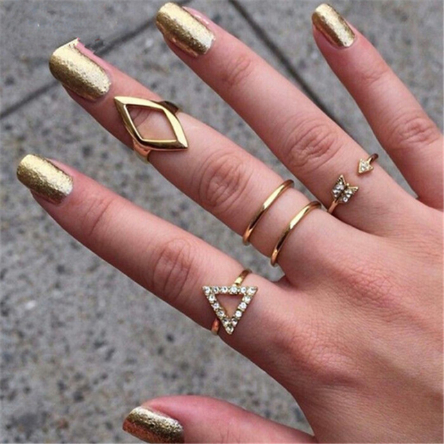 New 5pcs set stacking punk ring geometry Triangle midi ring with crystal women rings RBK006