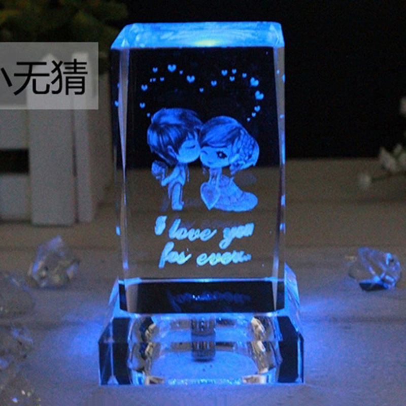 3d laser engraving crystal craft decoration pieces valentines gift