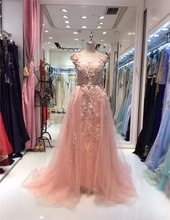 Fairy Flower Appliqued A Line Party Dress Prom Evening Dress