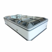 Energy saving Supermarket equipment Curved glass sliding door island freezer for storage food