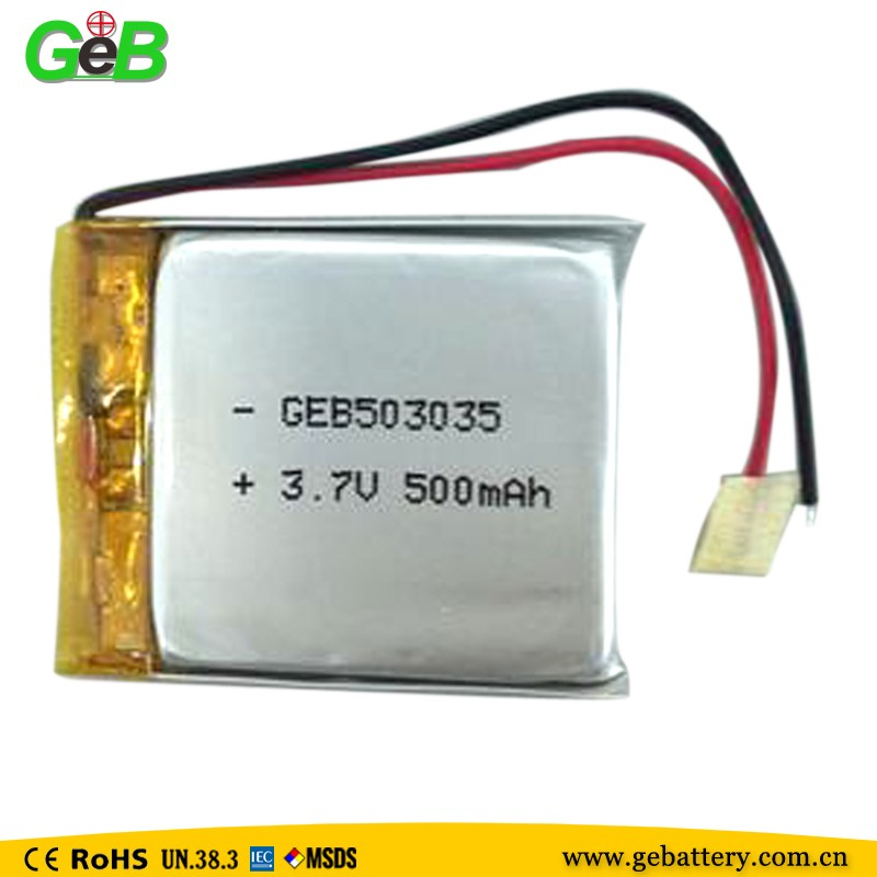 supplier GEB503035 3.7v 500mah lithium polymer battery