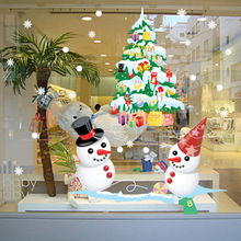 SD022 Christmas Design Snowman Tree Static Wall Sticker Glass Window Decorated Removable PVC Mural Sticker Decals